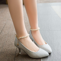 Buckle Gold And Silver Sequins Fine With High Heels