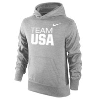 """Youth Nike Heather Gray USA KO """"Team USA"""" Therma-FIT Performance Pullover Hoodie"""