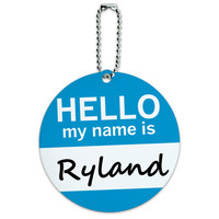 Ryland Hello My Name Is Round ID Card Luggage Tag