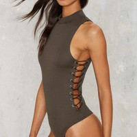 Nasty Gal On The Side Lace-Up Bodysuit