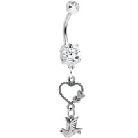'Love and Peace Dove Hollow Heart Belly Ring | Body Candy Body Jewelry