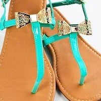Womens Sandals Bow Cut Out Flower Design Gladiator T-Strap Shoes Teal Black Gold