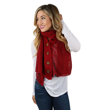 Button Up Beauty Scarf in Red