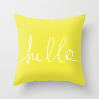 Hello x Sunshine Throw Pillow by Leah Flores
