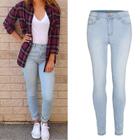 Light Blue Pocket Design Candy Color Jeans