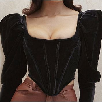 New style long-sleeved sexy chest cup square neck short top