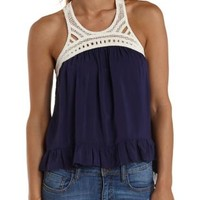 Navy Combo Crochet Racer Front Ruffle Tank Top by Charlotte Russe