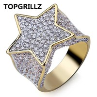 TOPGRILLZ Hip Hop New Custom Gold Color Plated Star Ring All Iced Out CZ Stone Rings Charm For Women Men Bling Party Jewelry