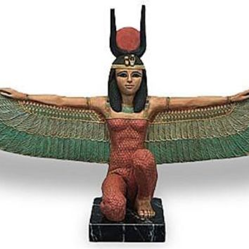 Isis Kneeling in Protection Pose, Large Egyptian Statue, Stone and Color 25W