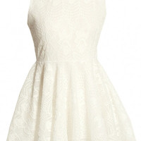 Collared Lace Sleeveless Mini Dress