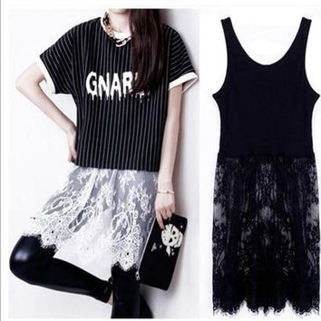 Lace Korean Hollow Out Stylish One Piece Dress [10463347540]