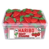 HARIBO 120 BIG STRAWBERRY SWEETS TUB