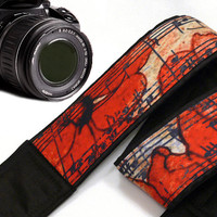 Vintage Camera Strap. Flowers Camera Strap. Music Camera Strap. Camera Accessories
