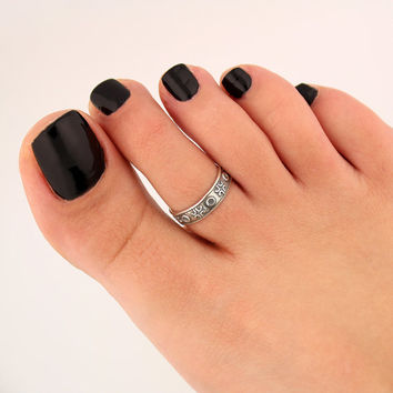 sterling silver toe ring XO design toe ring adjustable toe ring (T-78) knuckle ring