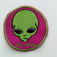 Patch #8. Alien Patch. Tumblr patches, Patches, Appliques, Embroidered Iron On Patch, Iron on Applique, Sewing Appliques