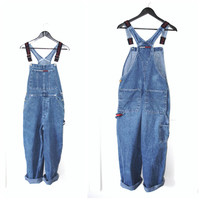 TOMMY HILFIGER overalls / vintage 90s stone wash denim classic DUNGAREES small medium large