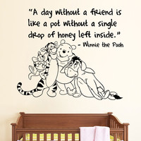 A Day Without Quote Vinyl Sticker Winnie The Pooh Wall Decals Nursery Kids SM161