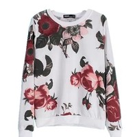 Mooncolour Women Girls Deluxe Embroidered Floral Long Sleeve Sweatshirt