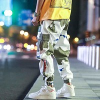 Hip Hip Streetwear Mens Camouflage Joggers Pants Men Cotton Trousers Elastic Waist Harem Pant Men