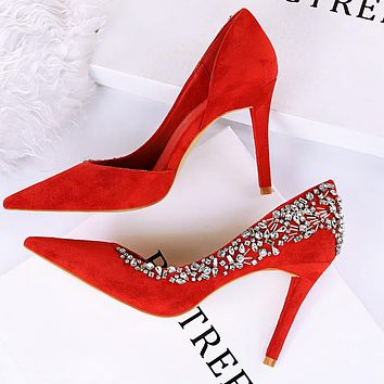 Sexy party high heels women's shoes suede shallow mouth pointed toe side hollow rhinestone high heel shoes red