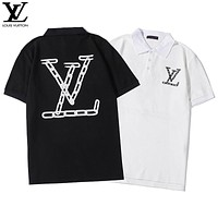 Louis Vuitton LV New Couples Large Printed Lettering Turtleneck Top T-Shirt