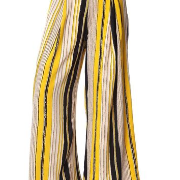 Yellow wide leg pants in stripe with belt