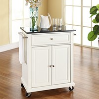 White Kitchen Cart with Granite Top & Locking Casters Wheels