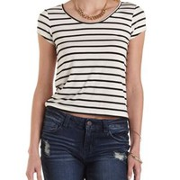 Ivory Combo Striped Boxy Tee by Charlotte Russe