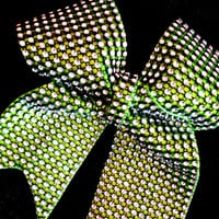 Rhinestone Cheer Bow in Lime Green & Black Bling for Cheerleaders - Great Gift