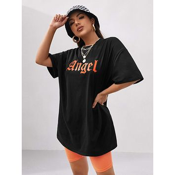 Letter Graphic Drop Shoulder Oversized Tee