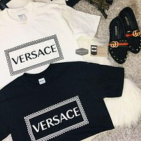 Versace Classic Hot Sale Embroidered Letters Casual Short Sleeve Top T-shirt