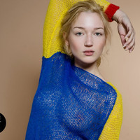 knit sweater bulky mohair blue red yellow theknitkid