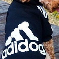 Black White Adidas Adidog Hooded Bone Logo Fleece Winter Dog Coat