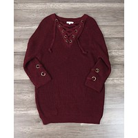 Lace Up Grommet Sweater in Burgundy