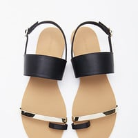 Faux Leather Toe Sandal
