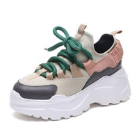 Shoes Woman 2018 Winter Autumn New Platform Sneakers Tenis Feminino Casual Chunky Sneakers Woman Lace-up Dad Sneakers 8 Cm Heel