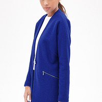 FOREVER 21 Zippered Collarless Overcoat Royal