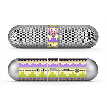 The Purple & Green Tribal Ethic Geometric Pattern Skin for the Beats by Dre Pill Bluetooth Speaker