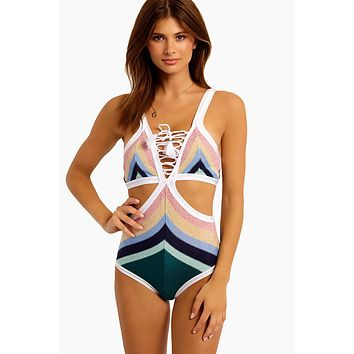 Stella Cove Big Black Petal Embellished Trendy One Piece Tank Swimsuit 8-14