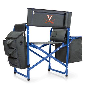 Virginia Cavaliers - Fusion Backpack Chair with Cooler, (Dark Gray with Blue Accents)