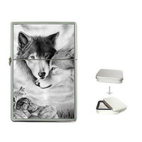 Wolf Couple (in black and white) on a FlipTop Cigarette Lighter & Box..NEW