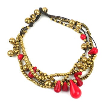 Bohemian Anklet: Red/Black - Thailand