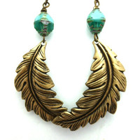 Turquoise blue Czech Picasso glass and Feather earrings, metal. Bronze jewelry. Bohemian.