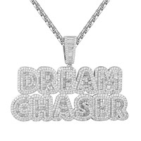 White Dream Chaser Micro Pave Baguette Bling Hip Hop Pendant