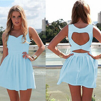 Light Blue Sleeveless Back Heart Shape Cut Out Skater Dress