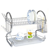Multi-functional Double Layer Kitchen Metal Dish Drying Rack Shelf Holder Organizer (Silver)