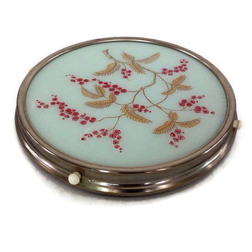 Vintage Lazy Susan-West Germany-Chrome and Plastic-Gold and Red Floral Design-Red Metal-Retro Kitchen-Turntable