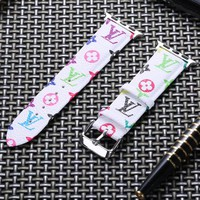 LV Rainbow Monogram Apple Watch Band - White
