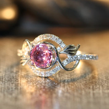 Floral Diamond and Pink Sapphire Engagement Ring in 14k White Gold 6mm Natural Sapphire Ring Leaf Diamond Wedding Ring Band