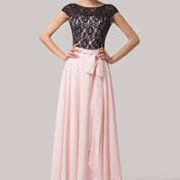Light Pink Mesh Lace Bow Knot Short Sleeve Backless  Maxi Dress